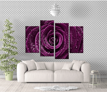 Purple Rose Floral Painting, 4 Pieces