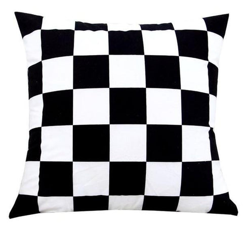 Race Car Checkered Black and White Throw Pillow Cover in Velvet