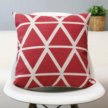 Red and White Triangle Pattern Accent Pillow
