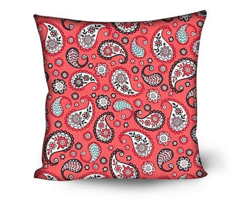 Red Bandanna Paisley Pattern Throw Pillows