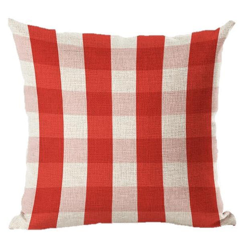 Red Checkered, Nordic Style Geometric Throw Pillow