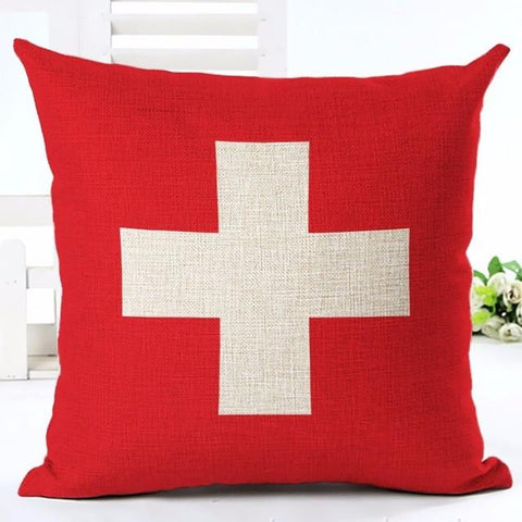 Red Cross Scandi Style Throw Pillow