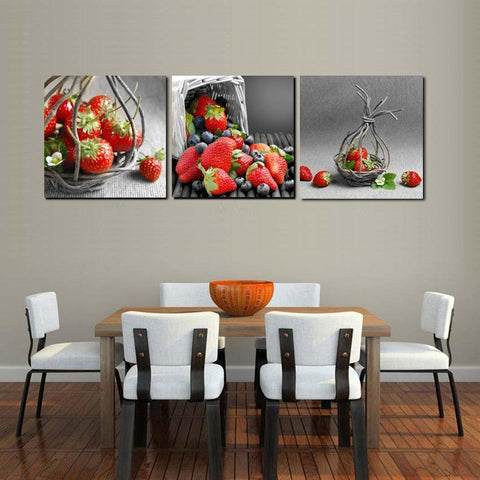 Red Strawberries Kitchen Scene Wall Art Set