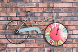 Retro Bicycle, Beach Cruiser Wall Clock with Wheel as Clock Face