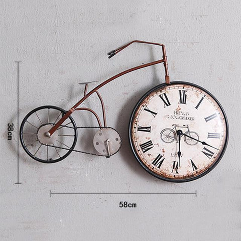 Vintage Bicycle Iron Wall Clock, Bike Wheel Clock Face