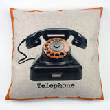 Retro Pink Telephone Accent Pillow Cover