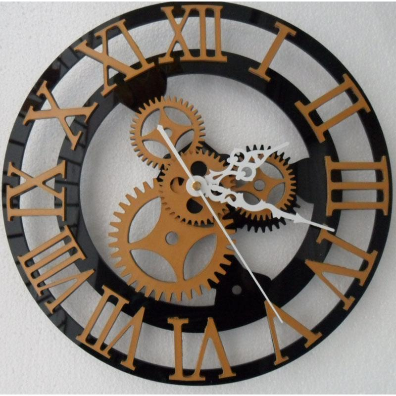 Clock With Gears Exposed For Wall