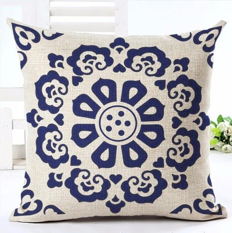 Scandi-Style Navy & Linen Pattern Throw Pillow