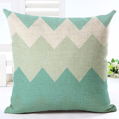 Sea Green Chevron Print Throw Pillow