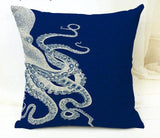 Sea Life Crab and Octopus Half and Half Throw Pillows, Red and Blue