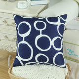 Set of CaliTime Geometric Circles Navy Blue Throw Cushions