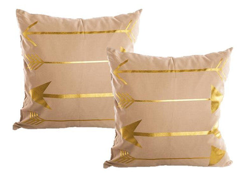 Set of Gold Patterned Throw Pillows