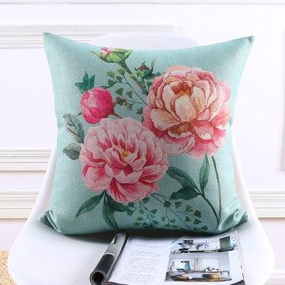 Shabby Chic Pink Peony Floral Accent Pillow Covers