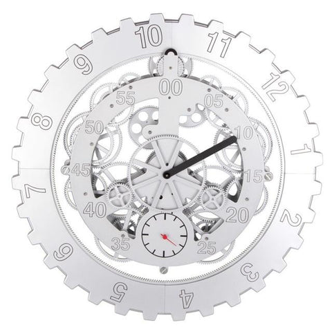 Silver Mechanical Gear Wall Clock