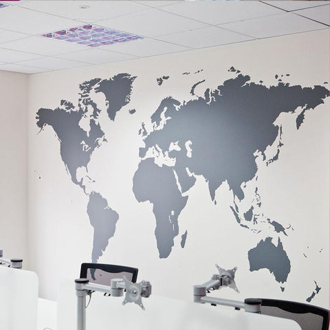 Silver World Map Wall Decoration Decal