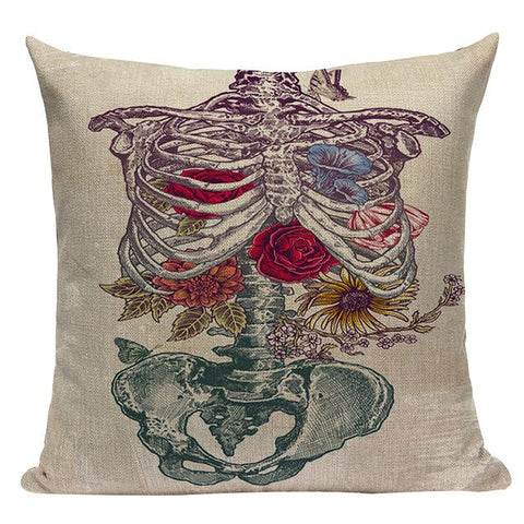 Skeleton Rib Cage and Roses Linen Accent Pillow