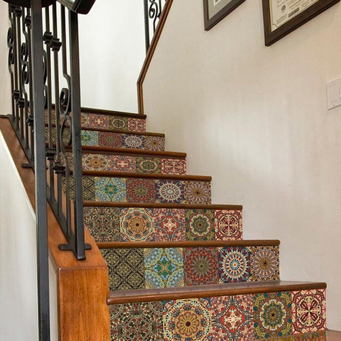 Spanish Style Ceramic Tile Backsplash for Staircase Decals