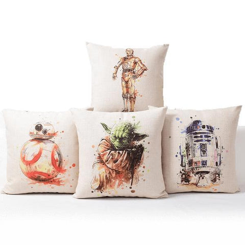 Star Wars Watercolor Throw Pillows, R2-D2, C-3P0, Yoda and BB-8