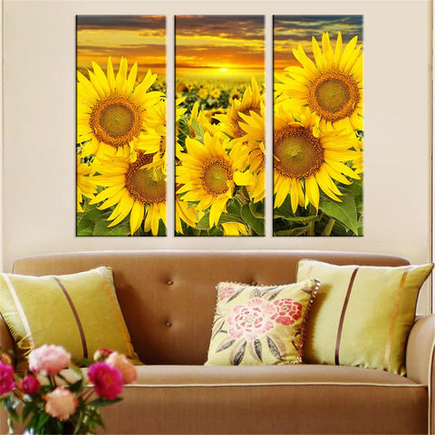 Sunflower Field, 3 Piece Canvas Wall Art Set, Yellow Floral Art for Wall