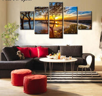 Sunset Lake Tree Landscape Photo Canvas, 5 Panel Set