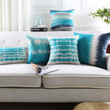 Teal Blue and White Pillow Cover Abstract Watercolor