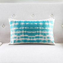 Teal Blue and White Pillow Cover Abstract Watercolor, 30x50cm, 45x45cm