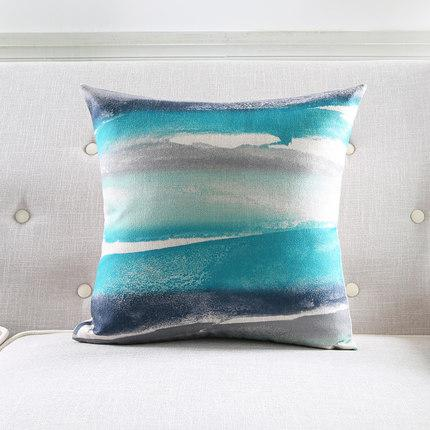 Teal Blue Navy And White Pillow Cover Abstract Watercolor