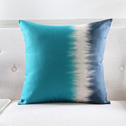 Teal Blue, Navy and White Pillow Cover Abstract Watercolor