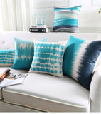 Teal Blue Pillow Cover Abstract Watercolor