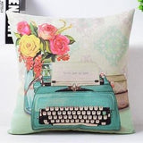 Throw Pillows with Vintage Scenes, Pink/Turquoise