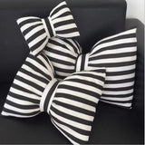 Too Cute Bow Shaped Throw Pillows, Black and White Striped