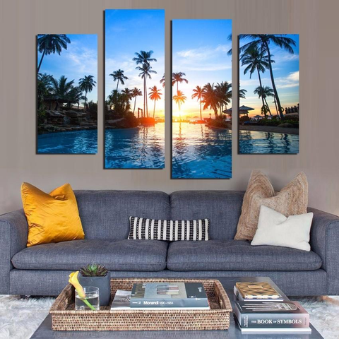Tropical Paradise Sunset Palm Trees Canvas Print