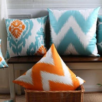 Turquoise & Orange Patterned Accent Pillow Covers