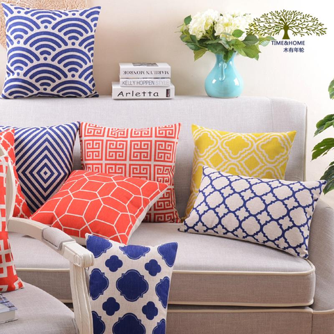 Vibrant Geometric Pattern Throw Pillows, Red, Navy, Yellow
