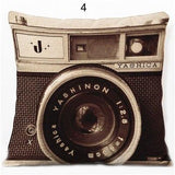Vintage Blue Camera Throw Pillow, Accent Cushion Cover for Unique Sofa and Bedroom Decor