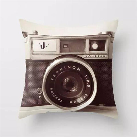 Vintage Camera Black and White Throw Pillow, Accent Cushion Cover