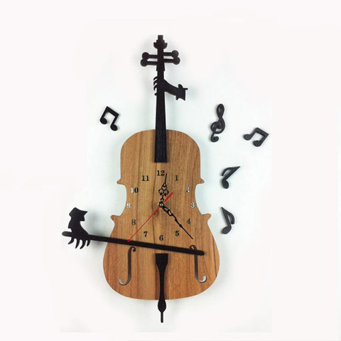 Vintage Cello Wall Clock, Wooden Classic Novelty Clock, Music Notes