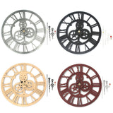 Vintage Mechanical Gear Wall Clock - Industrial Loft Style