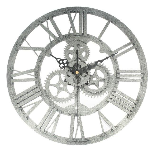 Vintage Mechanical Gear Wall Clock Industrial Loft Style