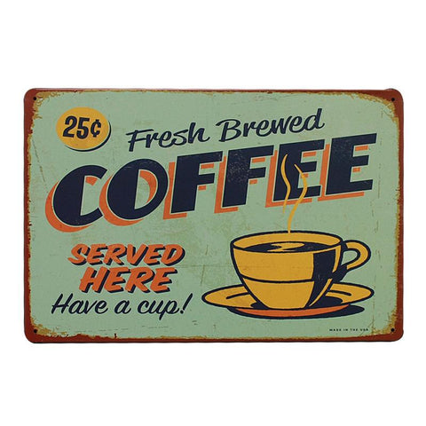 Vintage Metal Cafe Sign Fresh Brewed Coffee