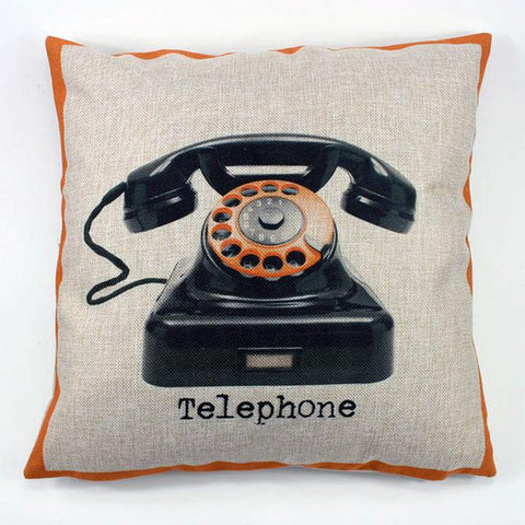 Shop Best Deals on Vintage Telephone Throw Pillow Cover, Orange
