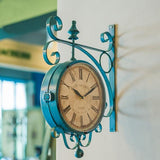 Vintage Train Station Wall Clock, Turquoise
