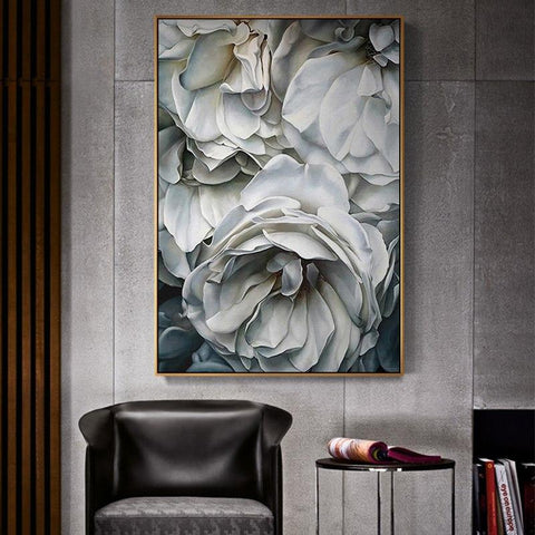 White Roses Black and White Canvas Print Oil Painting