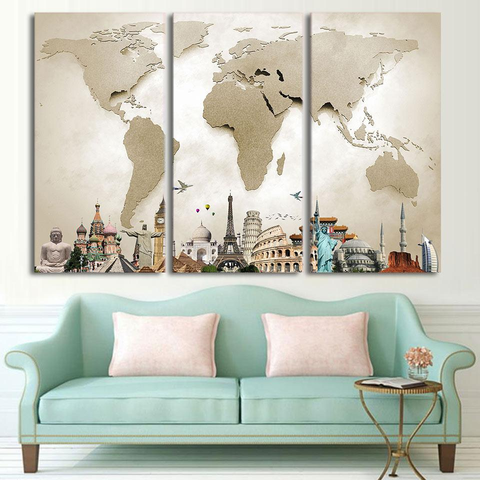 Shop Best Deals on World Map and Iconic Travel Monuments 3 Piece Canvas Print