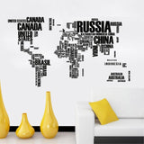 World Map Country Names Decal Black