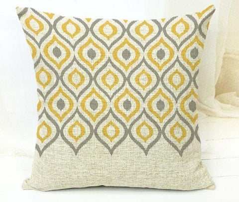 Yellow and Grey Modern Tribal Geometric Pattern Throw Cushion Cover