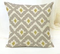 Yellow and Grey Modern Tribal Pattern Throw Cushion Cover