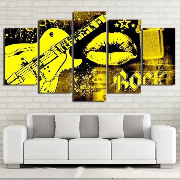 Yellow Graffiti Style Art Panel Set Framed Or Unframed