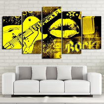 Yellow Graffiti Style Art Panel Set, Framed or Unframed