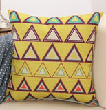 Yellow Triangle Geometric, Retro Pattern Throw Pillows